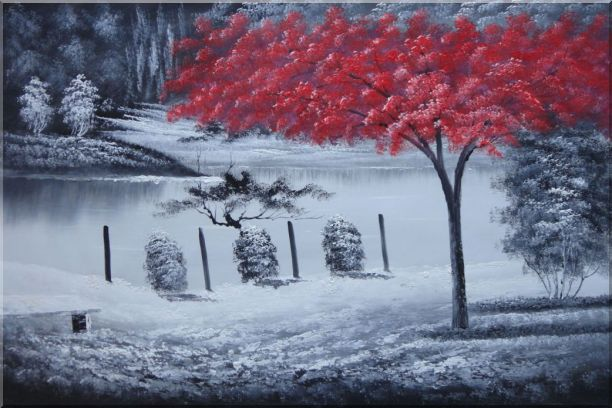 Red Tree in Black and White Landscape Oil Painting Naturalism 24 x 36 Inches