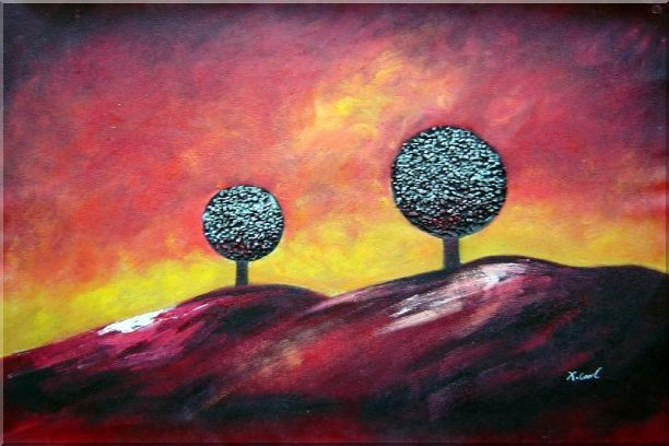 Two Trees Under Red Sky Oil Painting Landscape Decorative 24 x 36 Inches