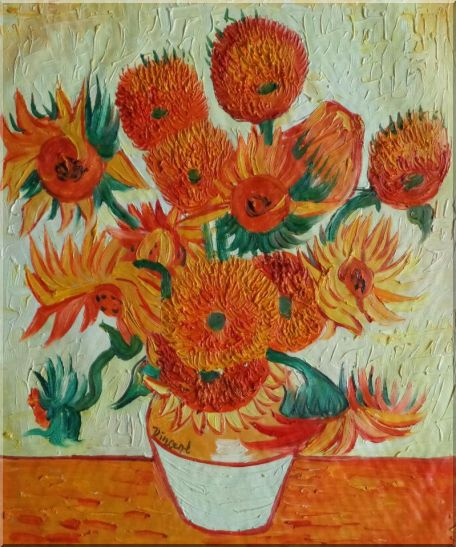 Sunflowers, Van Gogh Reproduction Oil Painting Still Life Post Impressionism 24 x 20 Inches