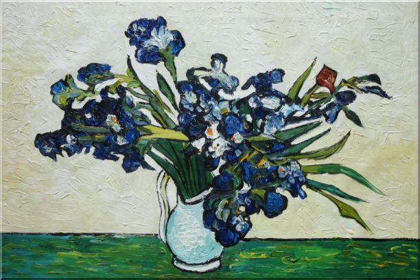 Irises, Van Gogh Reproduction Oil Painting Flower Still Life Post Impressionism 24 x 36 Inches