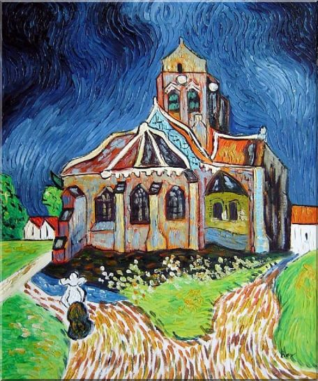 Church at Auvers, Van Gogh Reproduction Oil Painting Garden France Post Impressionism 24 x 20 Inches