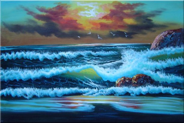 Flying Seagulls Over Sea Waves On Sunset Oil Painting Seascape Naturalism 24 x 36 Inches
