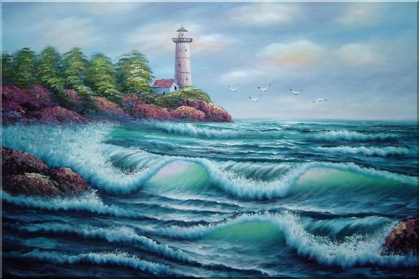 Oceanside Light Tower Oil Painting Seascape America Naturalism 24 x 36 Inches