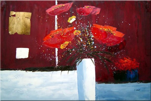 Red Anemone Flowers in White Vase Abstract Oil Painting Modern 24 x 36 Inches