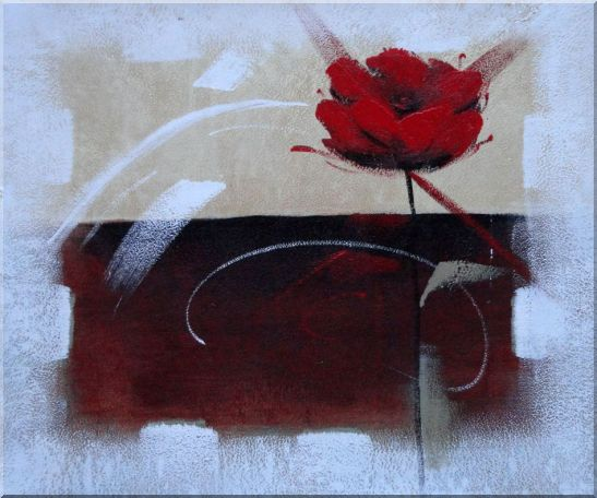 Abstract Red Rose Oil Painting Flower Modern 20 x 24 Inches