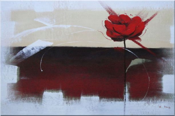 Abstract Red Rose Oil Painting Flower Modern 24 x 36 Inches