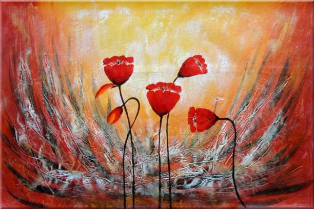 Red Flower Dancing in Wind Abstract Oil Painting Modern 24 x 36 Inches