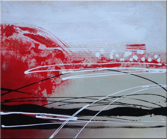 Red, White and Black Abstract Oil Painting Nonobjective Decorative 20 x 24 Inches