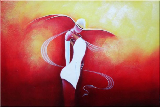 Girl with White Skirt in Red Background Oil Painting Portraits Woman Dancer Modern 24 x 36 Inches