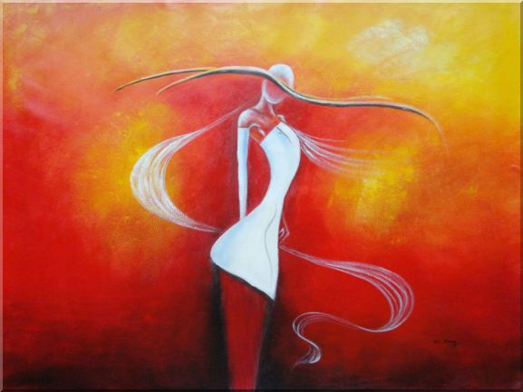 Girl with White Skirt in Red background Oil Painting Portraits Woman Dancer Modern 36 x 48 Inches