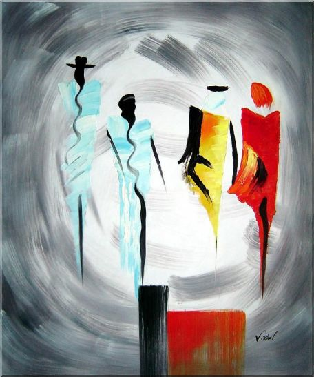 Four Ladies Abstract Oil Painting Portraits Woman Modern 24 x 20 Inches