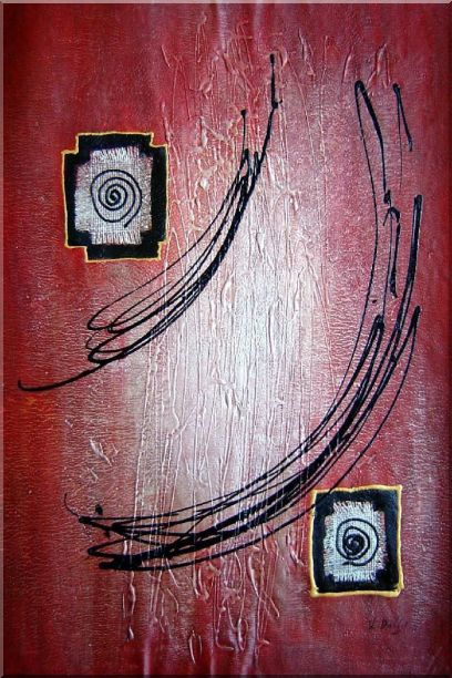 Black Lines in Red Abstract Oil Painting Nonobjective Modern 36 x 24 Inches