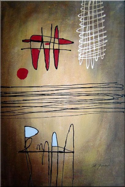 Lines Mixture Abstract Oil Painting Nonobjective Modern 36 x 24 Inches