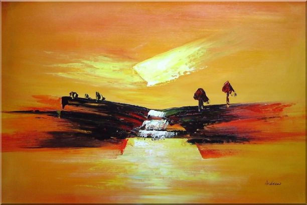 Abstract Waterfall Skyscapes Oil Painting Landscape Autumn Modern 24 x 36 Inches