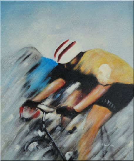 Racing Bicyclist Oil Painting Portraits Cycling Modern 24 x 20 Inches