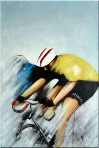 Racing Bicyclist Oil Painting Portraits Cycling Modern 36 x 24 Inches