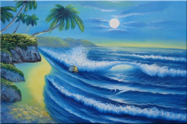 Evening Blue Ocean Wave with Palm Trees Oil Painting Seascape America Naturalism 24 x 36 Inches
