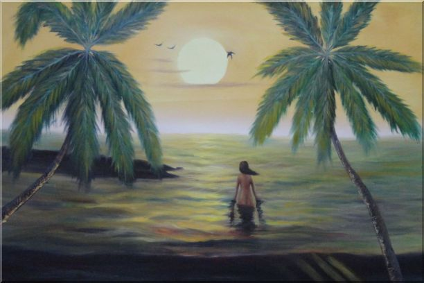 Peaceful Moment in Oceanside Oil Painting Seascape Impressionism 24 x 36 Inches