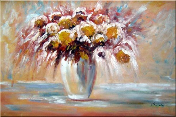 Delightful Flowers in Vase Oil Painting Still Life Bouquet Impressionism 24 x 36 Inches