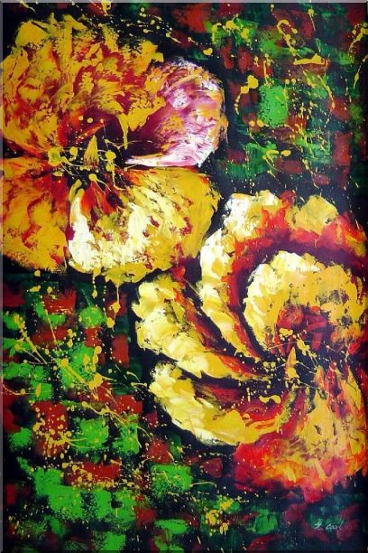 Gorgeous Blooming Yellow Flowers Oil Painting Modern 36 x 24 Inches