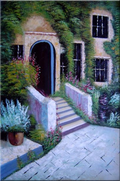House Surrounded by Flowers Oil Painting Garden France Naturalism 36 x 24 Inches