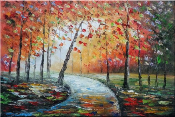 Tranquillity Trail in Autumn Forest Oil Painting Landscape Tree Modern 24 x 36 Inches
