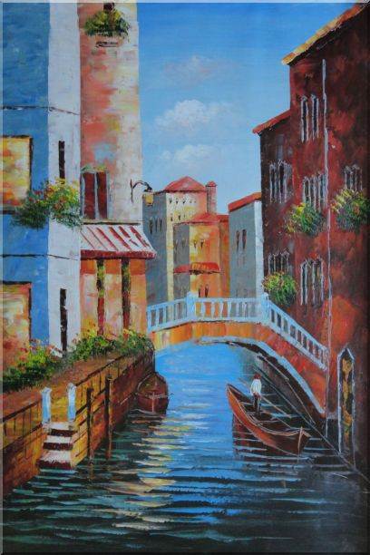 Gondola in a Little Canal in Venice Oil Painting Italy Impressionism 36 x 24 Inches