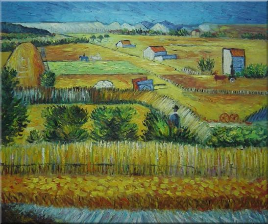 Harvest At La Crau With Montmajour, Van Gogh Oil Painting Village Netherlands Post Impressionism 20 x 24 Inches