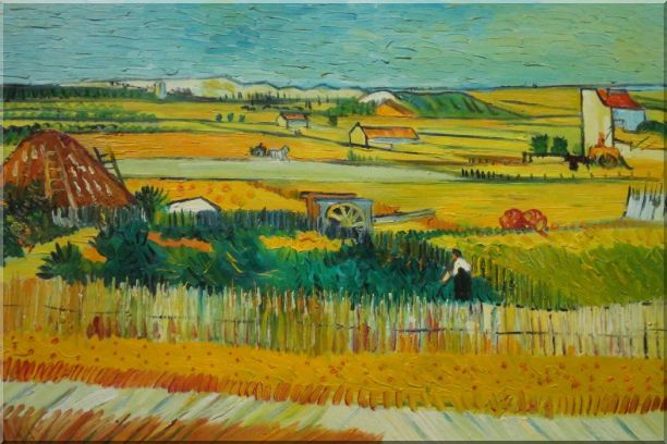 Harvest At La Crau With Montmajour, Van Gogh Oil Painting Village Netherlands Post Impressionism 24 x 36 Inches