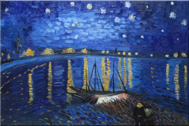 Starry Night Over the Rhone, Van Gogh replica Oil Painting Landscape River France Post Impressionism 24 x 36 Inches