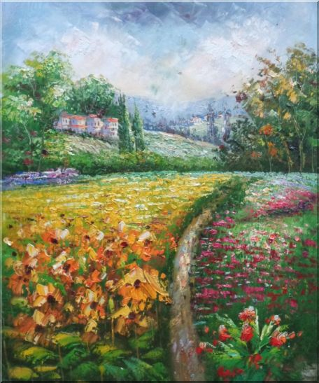 Flowering Meadow around Village Oil Painting Landscape Field Impressionism 24 x 20 Inches