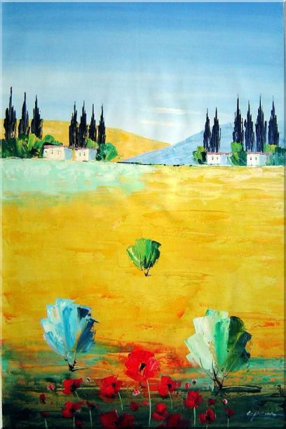 Sunny Tuscany Oil Painting Landscape Naturalism 36 x 24 Inches