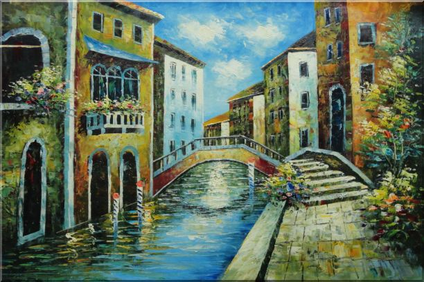 Serene Summer Afternoon in Italian Venice Oil Painting Italy Naturalism 24 x 36 Inches