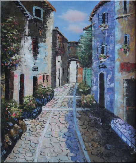 Narrow Cobbled Street Oil Painting Mediterranean Naturalism 24 x 20 Inches