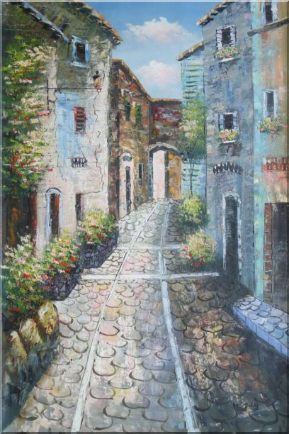 Narrow Cobbled Street Oil Painting Mediterranean Naturalism 36 x 24 Inches