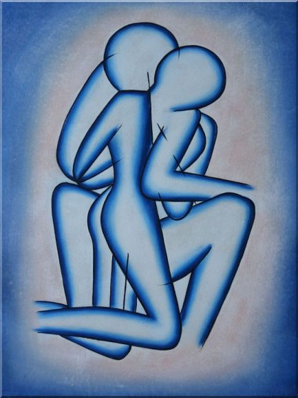 Modern Romantic Painting of Kiss Oil Portraits Couple 48 x 36 Inches