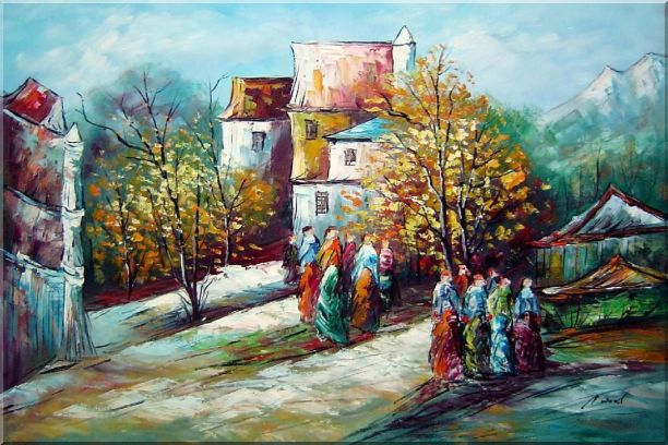 Ladies at Rural Village Street in Sunny Day Oil Painting Impressionism 24 x 36 Inches