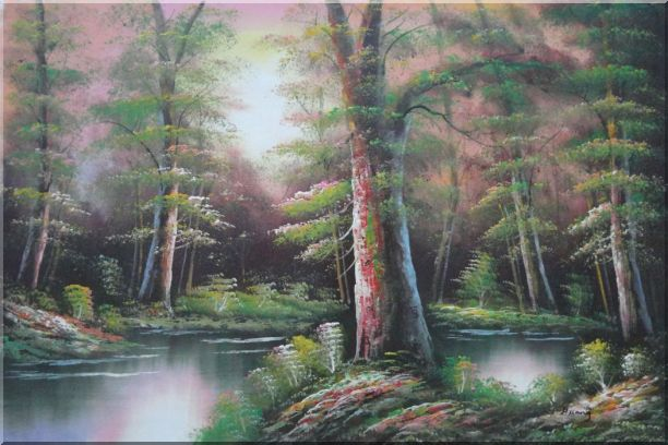 Lake Scenery in Autumn Forest Oil Painting Landscape River Naturalism 24 x 36 Inches