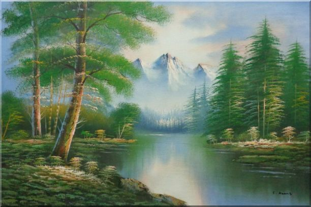Quiet Path to Calm Lake within Forest Oil Painting Landscape Tree Naturalism 24 x 36 Inches