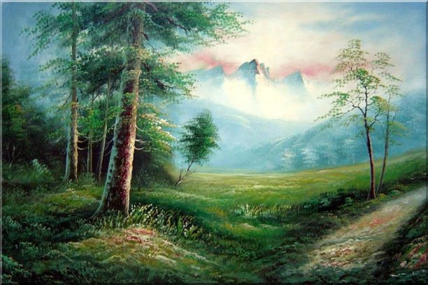 Meadow Field, Forest, Path, and Snow Mountain Oil Painting Landscape Naturalism 24 x 36 Inches
