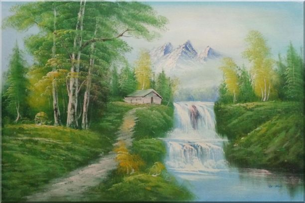 Cabin, Spring Cascade Water Fall and Snow Mountain Oil Painting Landscape Waterfall Naturalism 24 x 36 Inches