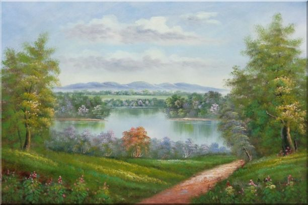 Trail of Serenity Oil Painting Landscape River Classic 24 x 36 Inches