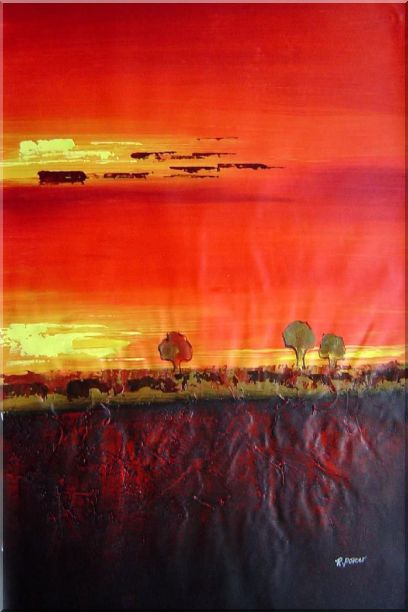 Tree and Sunset Landscape Oil Painting Modern 36 x 24 Inches
