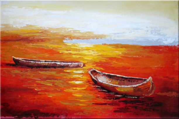 Beachside Boats in Sunset Oil Painting Impressionism 24 x 36 Inches