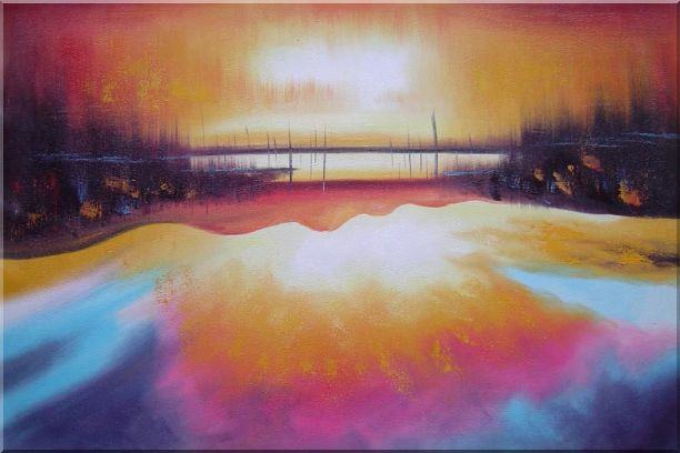 Peacefule Lake Village at Sunset Oil Painting Seascape Modern 24 x 36 Inches