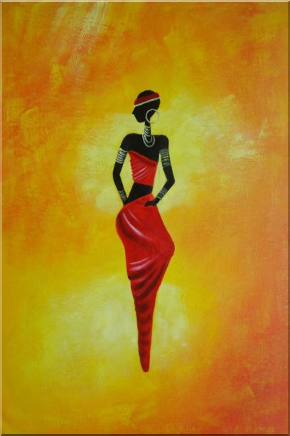 Lady in Red II Oil Painting Portraits Woman Dancer Modern 36 x 24 Inches
