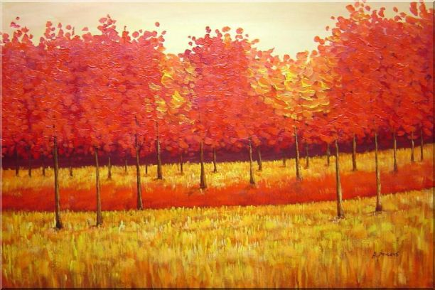 Autumn Golden Red Forest Oil Painting Landscape Tree Naturalism 24 x 36 Inches