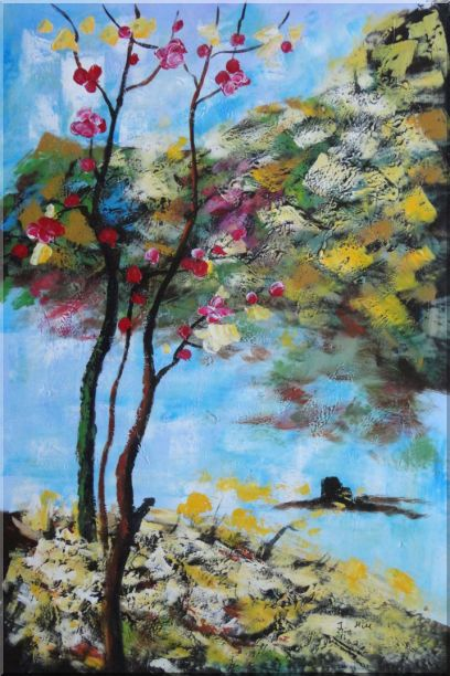 Spring Pink Flower Tree Oil Painting Landscape Impressionism 36 x 24 Inches