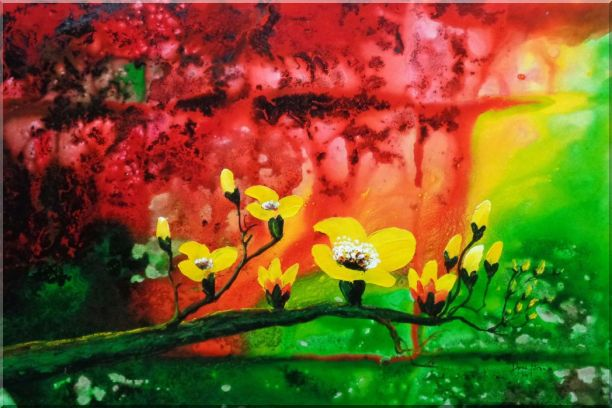 Yellow Magnolia Denudata Blossoms in Red and Green Background Oil Painting Flower Modern 24 x 36 Inches