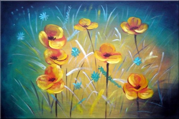 Yellow Flower Field Oil Painting Naturalism 24 x 36 Inches